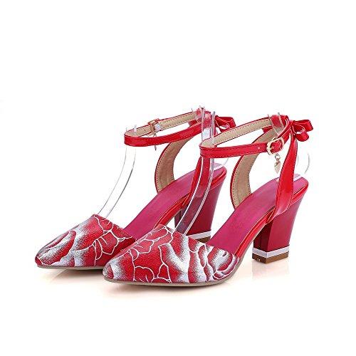 AgooLar Mujeres Tacón ancho Colores Surtidos Hebilla Puntera Cerrada Sandalia Rojo