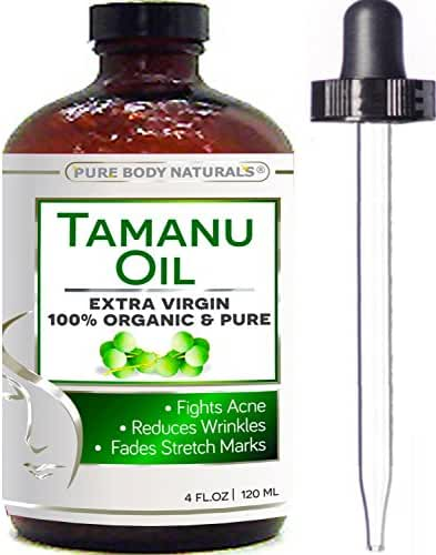 Tamanu Oil - Huge 4 fl. Oz - Pure Extra Virgin Cold Pressed Unrefined, Helps Fight Breakouts and Treat Skin Conditions, Rejuvenates Skin and Hair,
