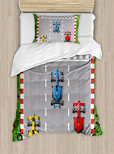 (Lunarable Boy's Room Duvet Cover Set Twin Size, Car Race Formula One Automobiles Competition Winner Champion Speed Team Graphic, Decorative 2 Piece Bedding Set with 1 Pillow Sham, Multicolor)