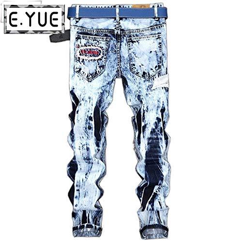 Distrutti Uomo Da Strappati Hellblau Skinny Especial Bobo Attillati 88 Maschili Similpelle Casual Jeans Estilo Pantaloni Retrò ZXEP7X