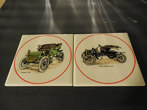 2 Hyalyn Porcelain 1904 Cadillac Ford Model N 1906 Wall Plaques Trivets