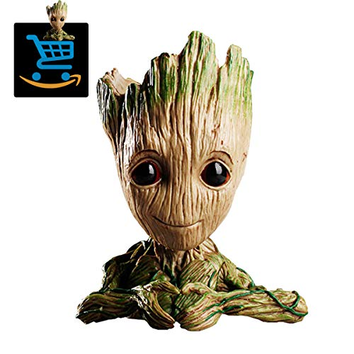 Prime Sale Day Deals Week Clearance-Creative Groot Planter Pot Guardians of The Galaxy Flowerpot Baby Groot Action Figures Cute Model Toy Pen Pot Pencil Holder Best Gifts for Kids (Love Heart Groot)