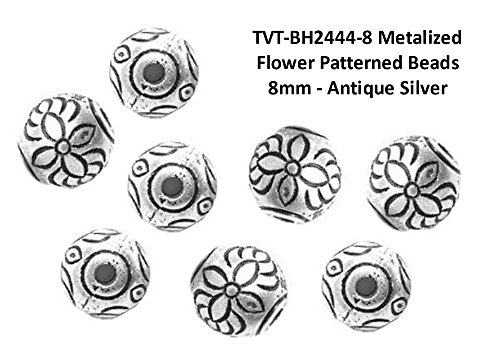 (PlanetZia 50pcs 8mm Metalized Flower Patterned Round Spacer Beads TVT-BH2444-8 (Antique)