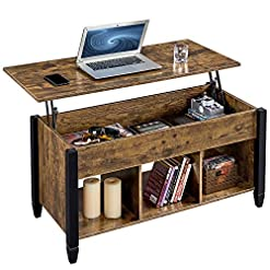 Farmhouse Coffee Tables YAHEETECH Lift Top Coffee Table with Hidden Compartment & Shelf, Rustic Style Lift Tabletop Dining/Center Table for… farmhouse coffee tables