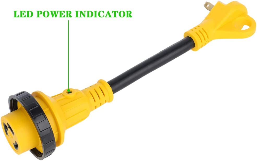 Electrical Adapter LSAILON 30 amp Male to 30 amp twist lock With LED indictor Twist Lock//Handle Power Cord Adapter RV Camper