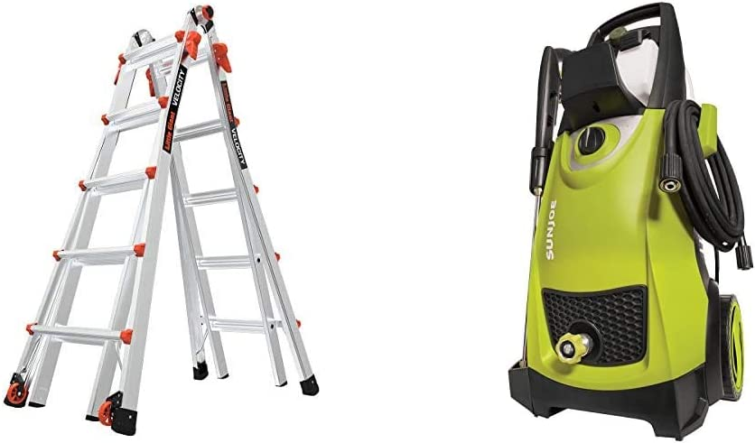 Little Giant Ladders, Velocity with Wheels & Sun Joe SPX3000 2030 Max PSI 1.76 GPM 14.5-Amp Electric High Pressure Washer, Cleans Cars/Fences/Patios