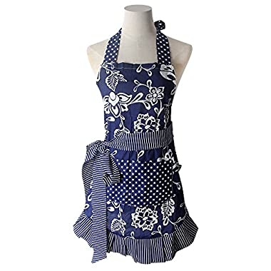 Lovely Classic Style Women's Cooking or Baking Apron with Pockets Fashion Floral Waterproof Garden Apron Great Gift for Wife Daughters Ladies (Blue)