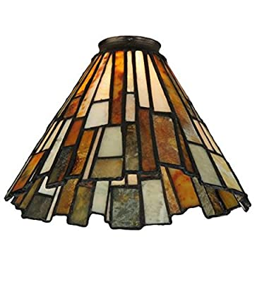 "Meyda Tiffany 65632 Jadestone Delta Lamp Shade with 2"" Ring, 8"" Width"