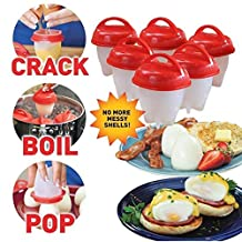 Egg Cooker Hard & Soft Maker, BPA Free, Non Stick Silicone ,Poacher, Boiled, Steamer, No Shell (6 pcs) (red)