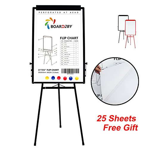 Board2by Tripod Whiteboard Stand/ Flipchart Easel - 24'' x 36'' Portable Aluminum Frame Magnetic White Dry Erase Board, 25-Sheet Easel Papers and 6 Magnets for Free, Black by Board2by