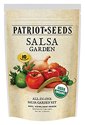 Organic Salsa Garden Seed Kit - 10 Heirloom Variety Pack ,100% CCOF-Certified Organic Heirlooms - No Hybrids or GMOs in Re-Sealable Pouch