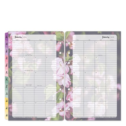 Compact Blooms Two Page Monthly Ring-bound Tabs - Jan 2018 - Dec 2018
