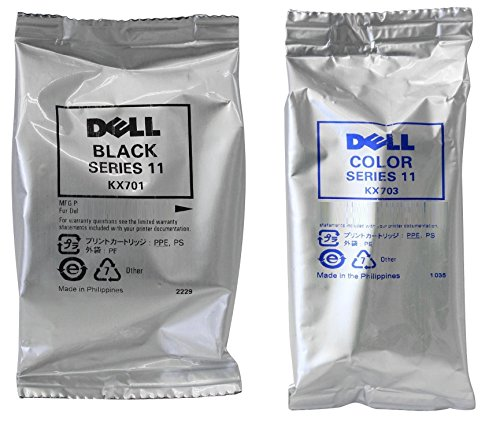 (Genuine Dell Series 11 DX514/KX701 Black and DX516/KX703 Color Ink Cartridge 2 Pack)