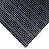 Rubber-Cal 03_167_W_CO_08 Composite Rib Corrugated Rubber Floor Mats, 1/8' Thick x 3' x 8' Roll, Black