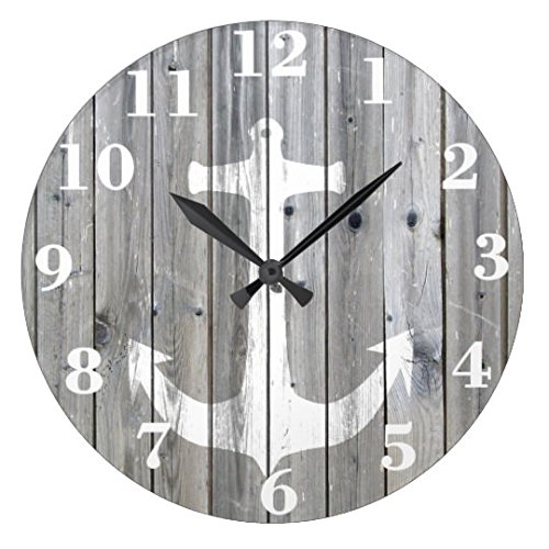 Antique Round Wood Clock For Bedroom Hipster Vintage White Nautical Anchor On Gray Wood Wall Clock Art Decorative For Kids Room 12 Inch Clock (Anchor Clock)