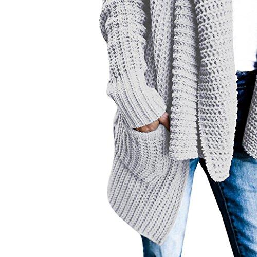 Suéter Abrigo Abierto de Con Logobeing Suéter Abrigo de Gris Bolsillo Cardigan Punto Mujer Abrigo Cardigan xP4qPvw0