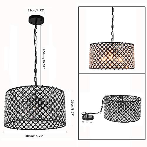 Lingkai Crystal Chandelier Pendant Light Fixture 3-Light Hanging Pendant Ceiling Lamp Caged Metal Drum Shade Black Finish