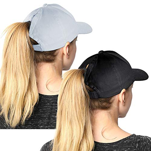High Ponytail Hole Baseball Hats Cap for Women,Messy Bun Hat Adjustable Cotton and Mesh Trucker Baseball Sun Cap Black (Black-Grey)