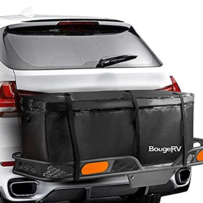 BougeRV Cargo Bag WATERPROOF Hitch Mount Cargo Carrier Bag 48'' x 21.7'' x 20.1'' Car Carrier Storage Box Travel for Car Truck SUV Vans Roof Top Rear