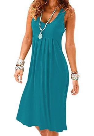 69ec069e10a3 Camisunny High Waist Summer Tank Dress for Women Soft U Neck Casual Loose  Beach Coverup Size