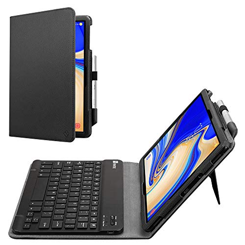 Fintie Folio Keyboard Case for Samsung Galaxy Tab S4 10.5 2018 Model SM-T830/T835/T837, Premium PU Leather Stand Cover with Removable Wireless Bluetooth Keyboard, Black