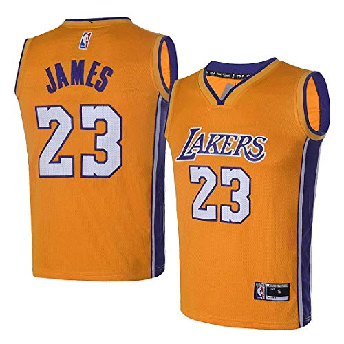 12a2c3e8cea4 OuterStuff Youth Los Angeles Lakers  23 LeBron James Kids Gold Jersey Youth  Yellow