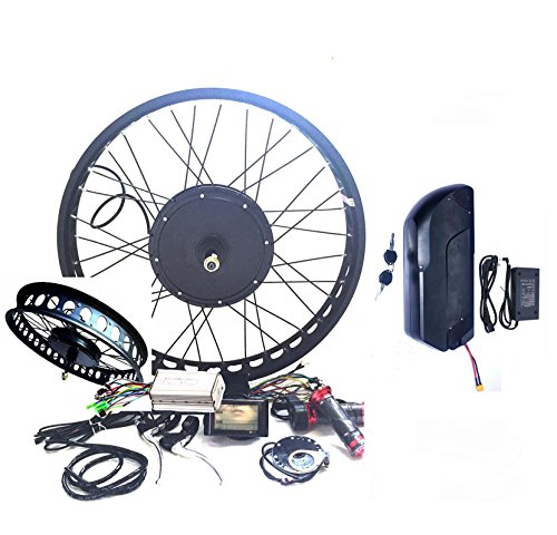 0W Motor 18AH Samsung 35E Battery Powered Electric Bike Conversion Kit 4.0 Fat Wheel 80mm Sine Wave Controller + LCD (24
