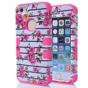 Best-elec Luxury Rose Flower Protective Hard Hybrid Skin Hard Case Armor Cover Diy For Iphone 5/5s Case Cover (hot pink)