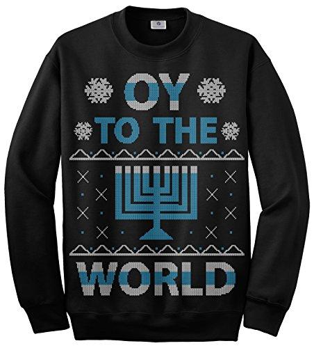 Threadrock Oy To The World Hanukkah Unisex Sweatshirt S Black