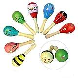 Goodplay 2pcs Baby Kid Wooden Maracas Medium Maracas Percussion Rattle Shakers Egg Handbell Musical Development, Party Favor Kid Baby Shaker Sand Hammer Toy (Random Color Pattern) (Medium)
