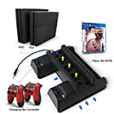 PS4/PS4 Slim/PS4 Pro Cooling Fan,Anrain Cooling Cooler with Dual Controller Charging Station & USB Hub for PS4/PS4 Slim/PS4 Pro