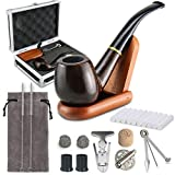 Joyoldelf Tobacco Smoking Pipe Set with Elegant Gift Case Packaging, Wind Cap Cover, Cleaning Brush, Reamer & 3-in-1 Pipe Scraper, Wood Stand Holder and Other Smoking Accessories