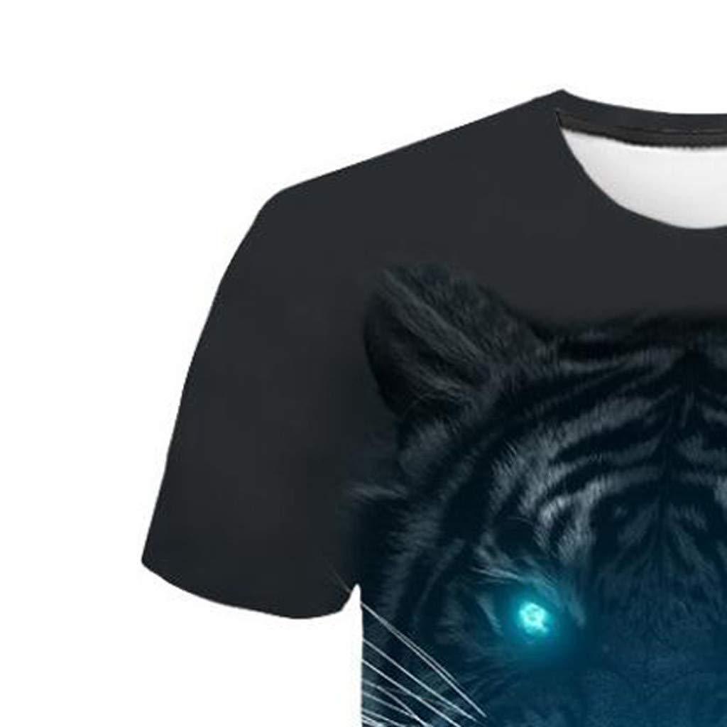 Men 3D Printing T-Shirt,Jchen Summer Mens Teen Boys 3D Tiger Print Casual Funny Tees Shirt Tops (L/US/EU Size:M, Black) by Jchen Men T-shirt (Image #6)