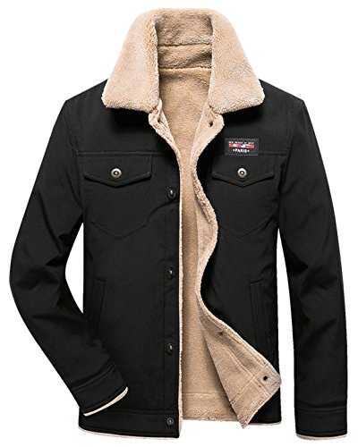 HOW'ON Men's Casual Sherpa Fleece Lined Jacket Warm Coat with Fur Collar Black - Sherpa Collar