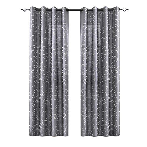 Faux Silk Swirl Embroidered Grommet Top Curtains for Bedroom 63 inch Length Embroidery Curtain for Living Room, 2 Panels, Gray