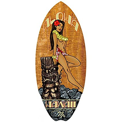 Hawaiano de Madera Mini Tabla de Surf Tiki de Hula Girl