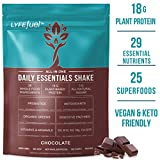 LYFE FUEL Keto Meal Replacement Shake | Vegan & Gluten Free Plant Based Protein + Organic Superfood Greens | Chocolate | 18g Rice + Pea Protein | 28 Meals