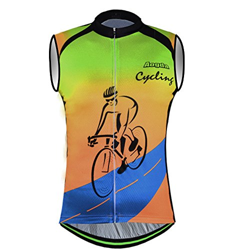 (Aogda Men Cycling Jerseys Sleeveless Shirts Team Cycling Clothing Vest Suit (Blue Vest Jersey, XXL))