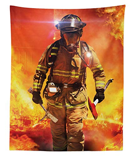 - Lunarable Fireman Tapestry Twin Size, Firefighter Figure in a Building on Fire Searching for Survivors Emergency Services, Wall Hanging Bedspread Bed Cover Wall Decor, 68 W X 88 L inches, Multicolor