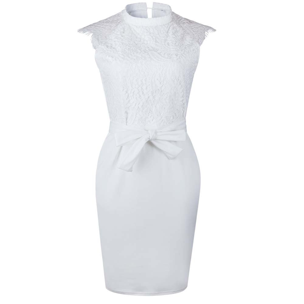 iLUGU O-Neck Sleeveless Knee-Length Dress For Women Lace Bow-Knot Top Pencil Dress Dress Shoes For Women