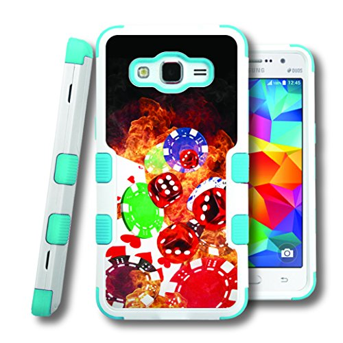 Grand Prime Case, CASECREATOR[TM] For Samsung Galaxy Grand Prime / G530H / G530F (Sprint, T-Mobile, Cricket) -- NATURAL TUFF Hybrid Rubber Hard Snap-on Case Teal Blue White-Cards Dice Chips