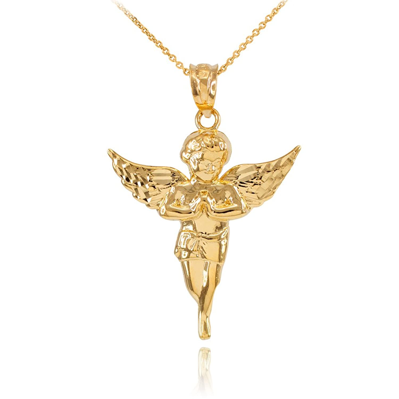 High Polish 14k Yellow Gold Angel Charm Pendant Necklace
