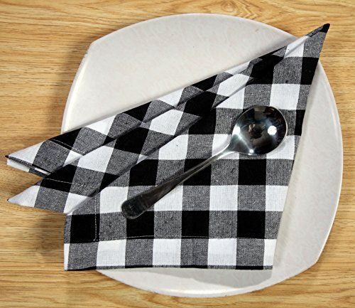 Linen Clubs Pack Of 12 Black -white 100% Cotton Yarn Dyed Gingham Check Dinner Napkins 18x18Inch,Clambake Beach party Nautical Dinner Napkins as well offered by by Linen Clubs (Image #5)