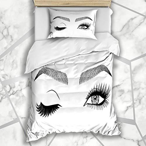 Ahawoso Duvet Cover Sets Twin 68X86 Sketch Lash Eye Wink Eyebrows Eyelashes Eyelash Brow Face Eyelid Cosmetics Design Eyebrow Microfiber Bedding with 1 Pillow Shams