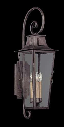 Troy Lighting French Quarter 4-Light Outdoor Wall Lantern – Aged Pewter Finish with Clear Glass