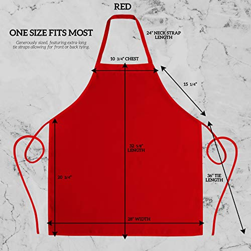 GREEN LIFESTYLE 12 Pack Bib Apron - Unisex Apron Bulk Machine Washable for Kitchen Crafting BBQ Drawing Outdoors (Pack of 12, Red)