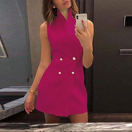 Amazon.com: Vestido de mujer con cuello en V, estilo vintage ...