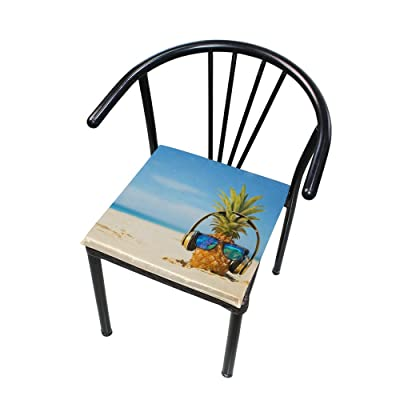 Bardic FICOO Home Patio Chair Cushion Beach Pineapple with Glasses Square Cushion Non-Slip Memory Foam Outdoor Seat Cushion, 16x16 Inch: Home & Kitchen
