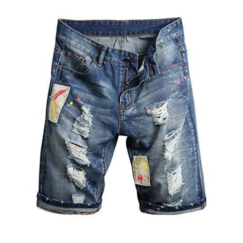 Adelina Jeans Da Uomo Con Fori Strappati Corti Pantaloni Di Cher Abbigliamento Graffiti Stretch Pantaloncini Vestibilità Regolare Bermuda Blau