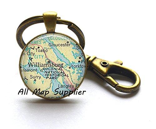 Charming Keychain,Williamsburg, Virginia map Key Ring, Williamsburg map Keychain, Williamsburg Key Ring map jewelry,A0159 (Williamsburg Halloween)
